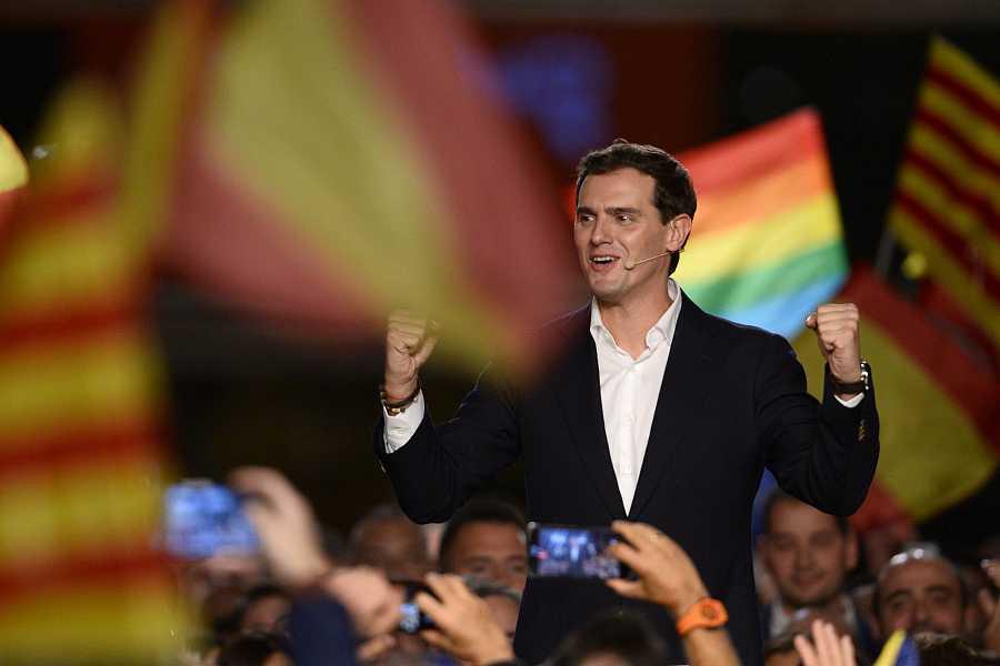 El líder de Cs, Albert Rivera, en su mitin de cierre de campaña en el Palau de Congresos de Cataluña