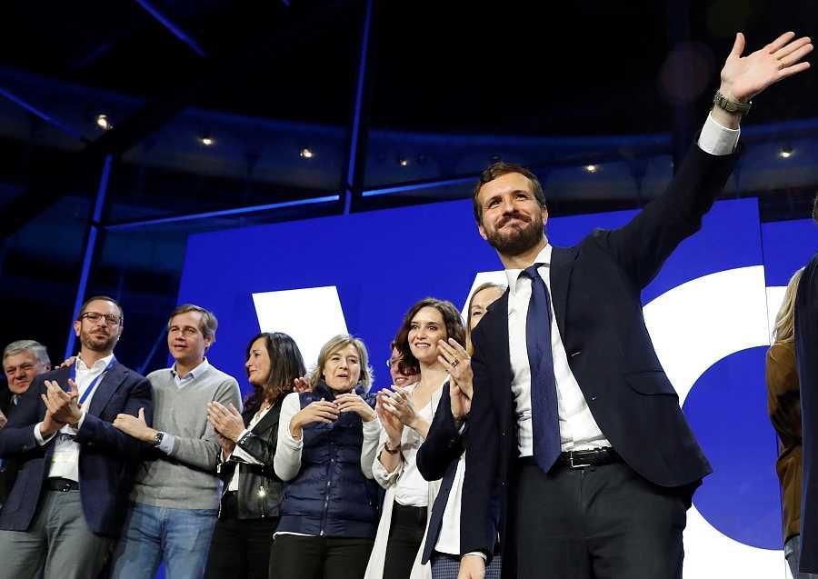 Pablo Casado ha cerrado la campaña del PP en la plaza de toros de Las Ventas, en Madrid.