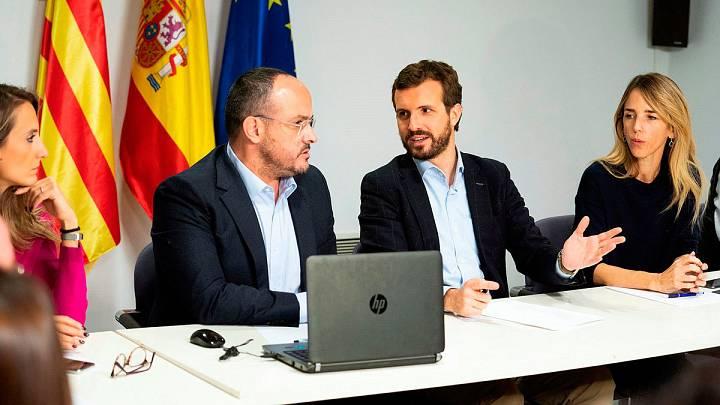 Fotografia facilitada por el PP del presidente del Partido Popular y candidato a La Moncloa en las elecciones generales de mañana, Pablo Casado,c.