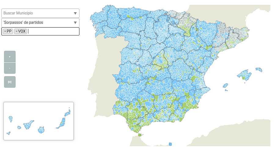 Duelo electoral PP-Vox: Municipios en los que un partido gana al otro el 10N.