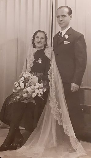 Felisa Alburquerque y Manuel Ruiz el dia de su boda