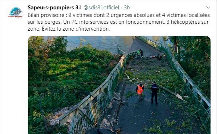 Losbomberos de Haute Garonne informan en su cuenta de Twitternueve víctimas, de las que dos estaríanmuy graves.