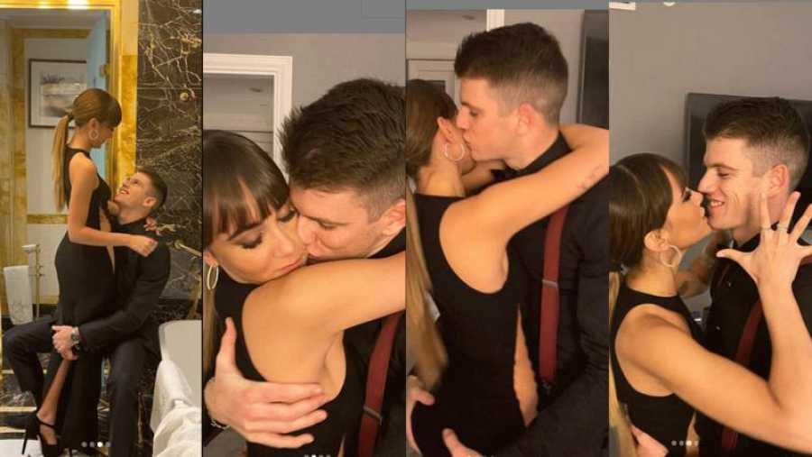 Fotos de Aitana y Miguel Bernardeau en el baño y la habitación de un hotel donde aparcen abrazándose y besándose.