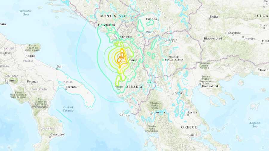 Mapa que muestra la localización del epicentro del terremoto en Albania. Fuente: United States Geological Survey, USGS