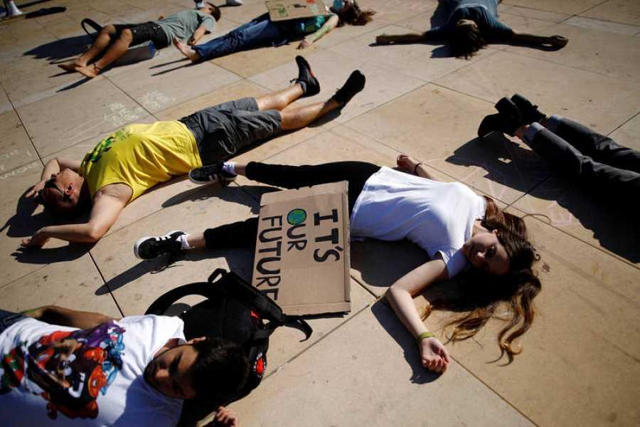 Jóvenes de Tel Aviv en una manifestación de Fridays For Future este viernes.