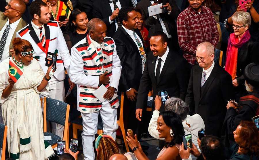 El primer ministro de Etiopía a su llegada al ayuntamiento de Oslo.