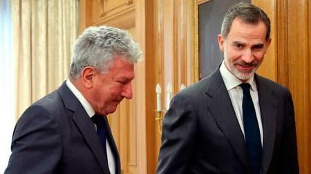 El rey Felipe VI y el diputado de Nueva Canarias, Pedro Quevedo, durante la audiencia en el Palacio de la Zarzuela.