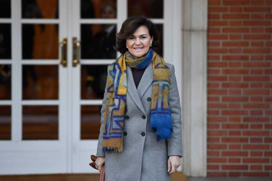 La vicepresidenta, Relaciones con las Cortes y Memoria Democrática, Carmen Calvo, asiste a la primera reunión del nuevo Gobierno de Pedro Sánchez.