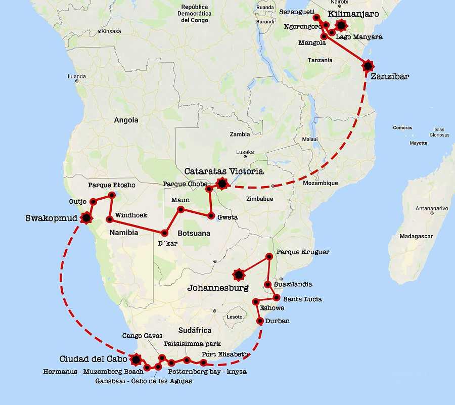 Ruta de Mi familia en la mochila en su aventura por África