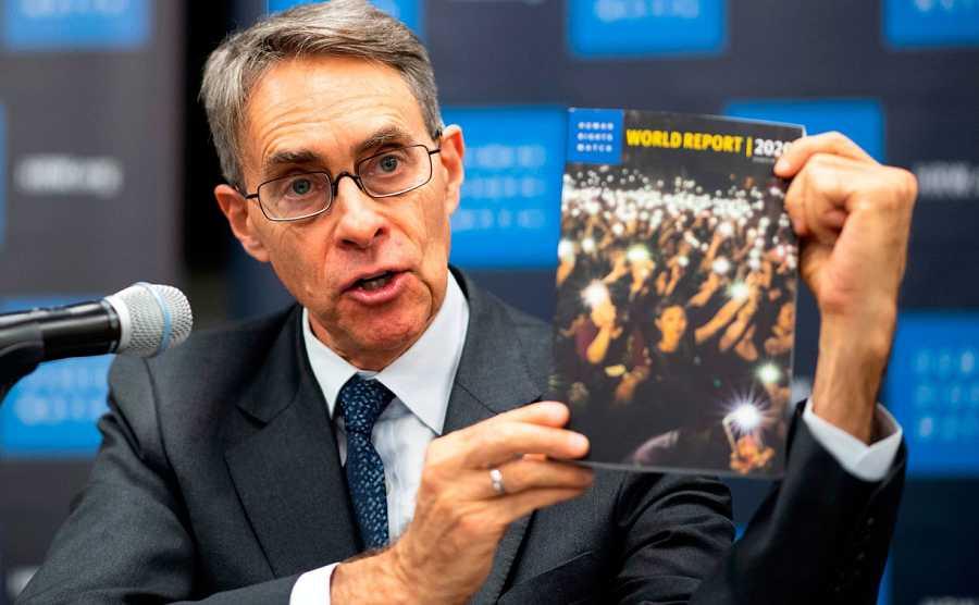 Kenneth Roth, director ejecutivo de la ONG Human Rights Watch, durante la presentación del informe anual en Nueva York.
