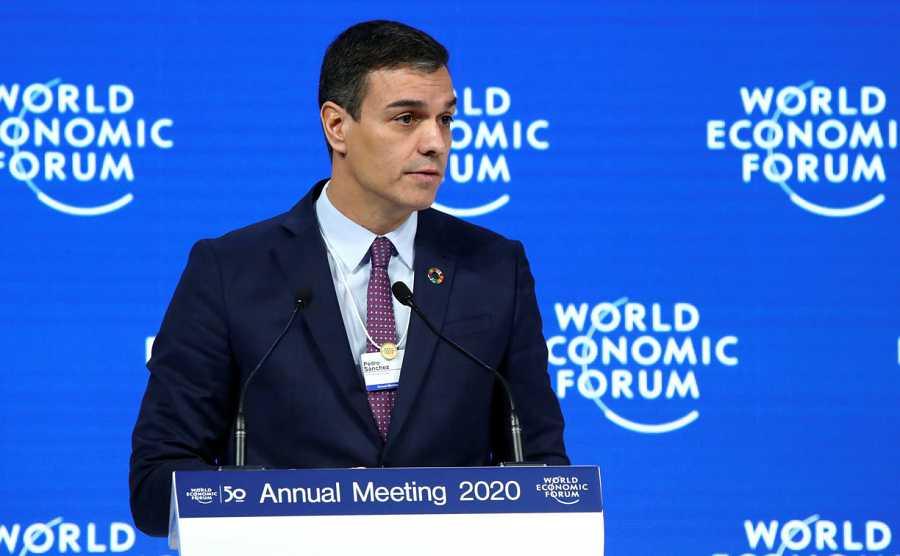 El presidente del gobierno español, Pedro Sánchez, durante su intervención en Davos.