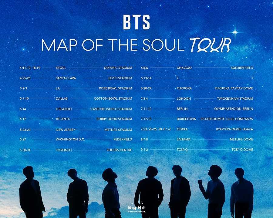 Fechas de la gira de BTS en 2020