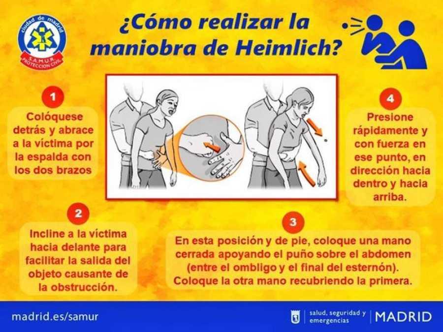 Cómo se realiza la maniobra de Heimlich para atragantamientos.