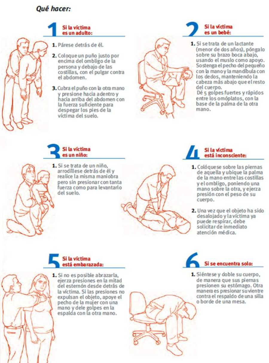 La maniobra de Heimlich aplicada a diferentes tipos de persona.