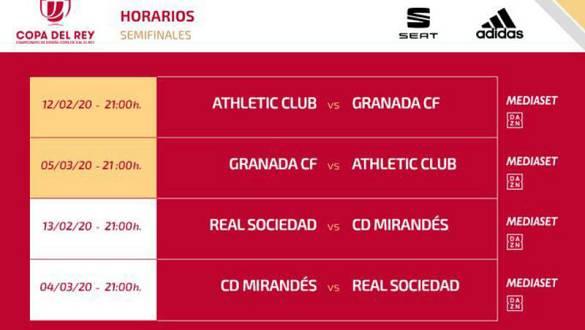 Imagen con las fechas y horarios de las semifinales de la Copa del Rey de fútbol.