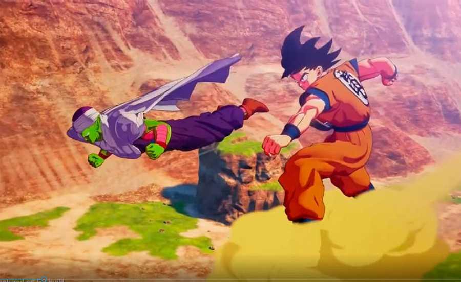 Piccolo y Goku explorando el mundo abierto.