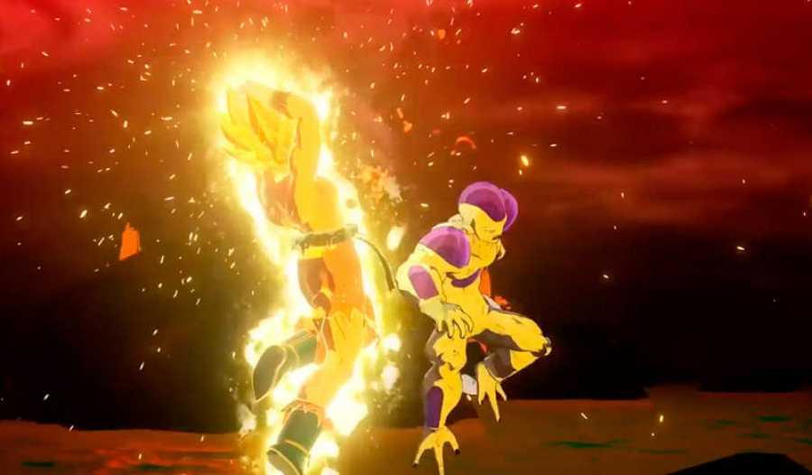 Imagen de la batalla entre Goku y Freezer.