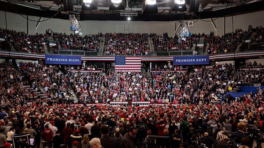 Acto electoral de Donald Trump en New Hampshire, en el University Arena de Manchester