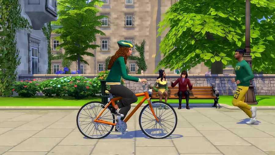 Un personaje de 'Los Sims 4' en bicicleta