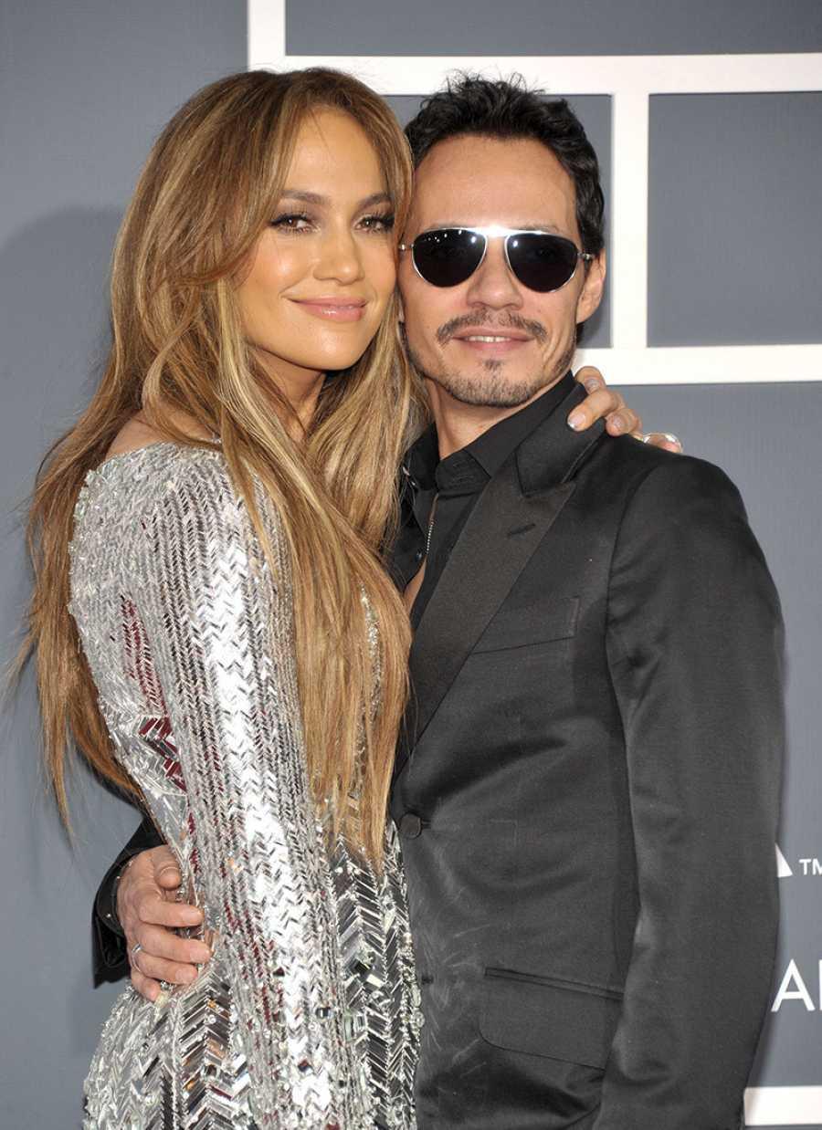 Jennifer Lopez y Marc Anthony antes de actuar juntos
