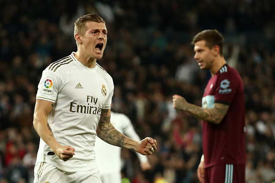 Toni Kroos celebra el primer gol del Real Madrid