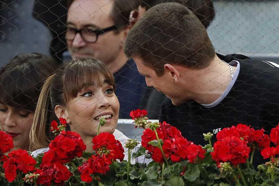 Aitana y Miguel Bernardeau en un partido de tenis en madrid en mayo de 2019