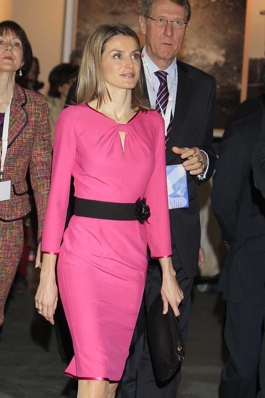 La reina Letizia apostó por el color rosa en ARCO 2012