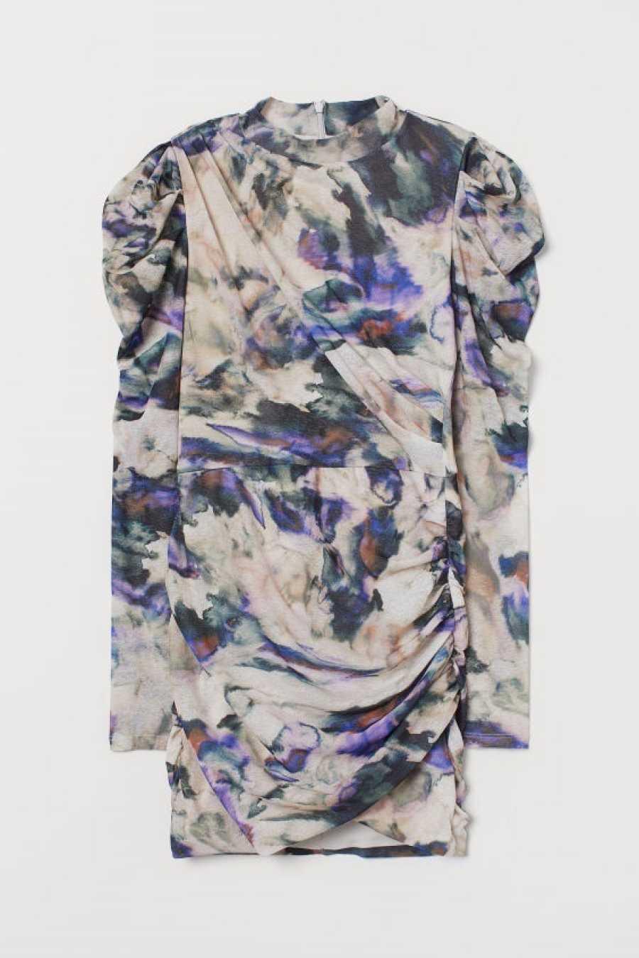 Vestido de estampado floral y corte mini con manga abullonada de H&M