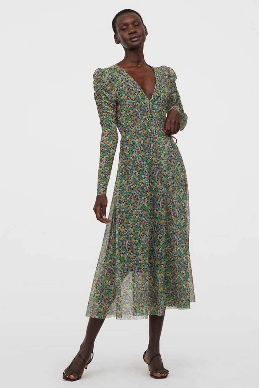 Vestido de manga abullonada, de gasa, estampado floral y corte midi de
