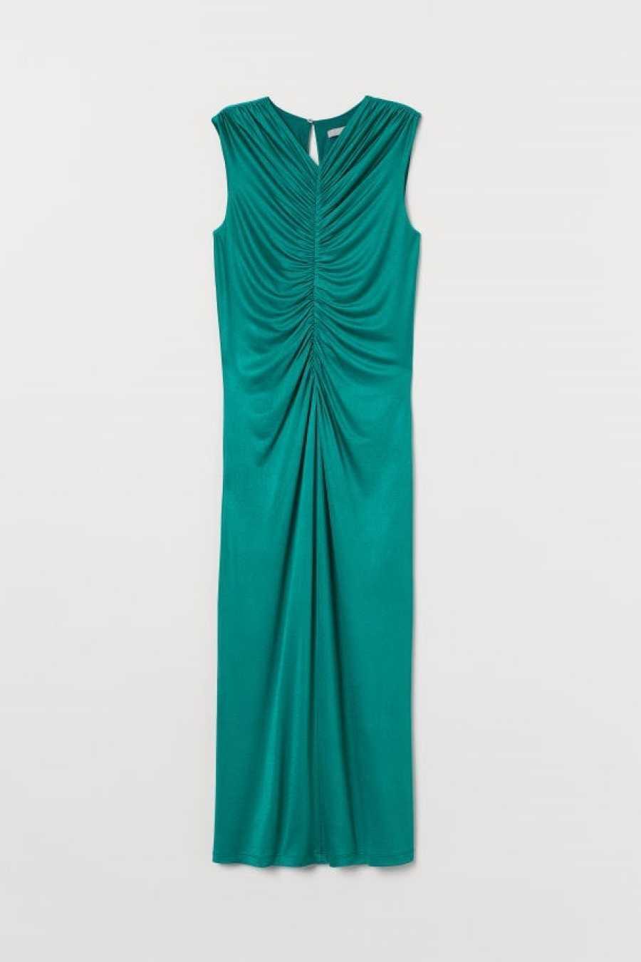 Vestido fruncido efecto raso verde