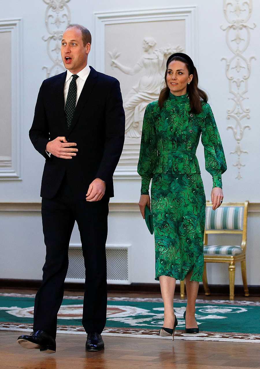 El príncipe Guillermo y Kate Middleton en el encuentro con el presidente irlandés.