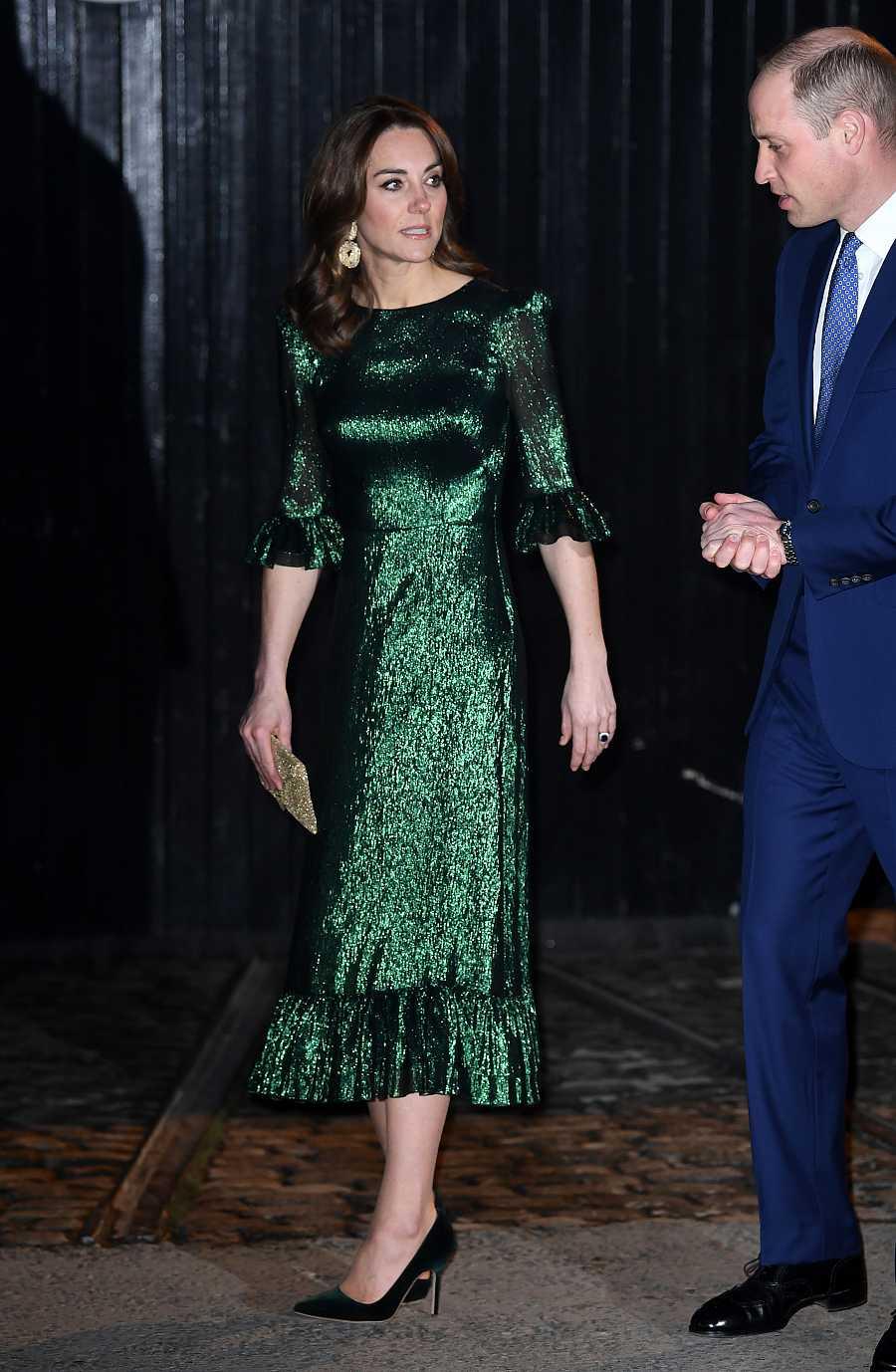 Kate Middleton con un vestido verde esmeralda en su visita a la fábrica de Guinness