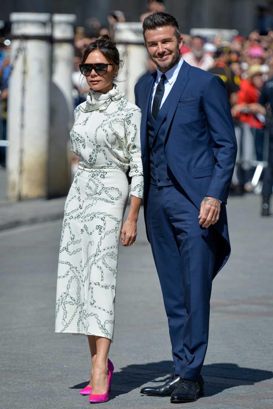 Victoria y David Beckham en la boda de Sergio Ramos y Pilar Rubio