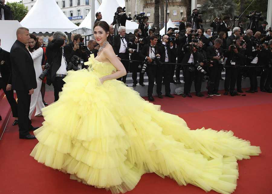 La actriz Araya A. Hargate en el Festival de Cannes, en el año 2018