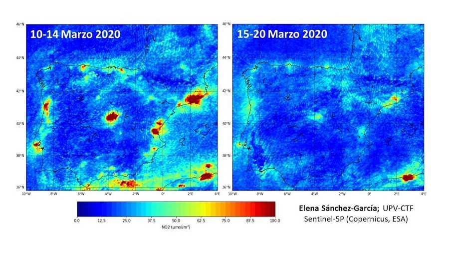 Comparativa en la que se puede apreciar el desplome de los niveles de contaminación debido a la cuarentena.