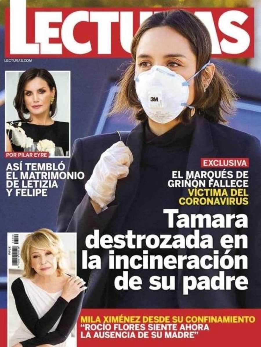 Portada de la revista Lecturas en la que Tamara Falcó aparece en la incineración de su padre