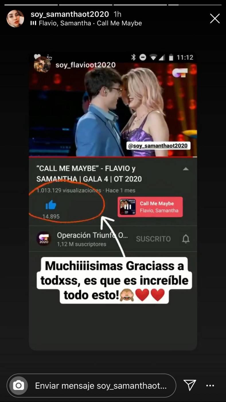 Mensaje de Flavio en Instagram por el millón de reproducciones de