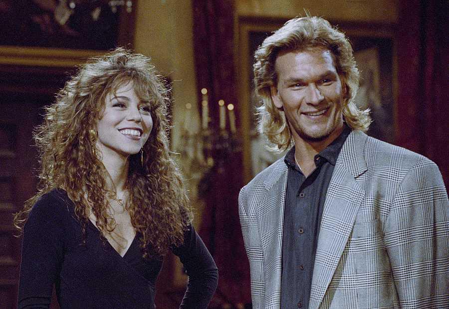 Mariah Carey junto al actor Patrick Swayze
