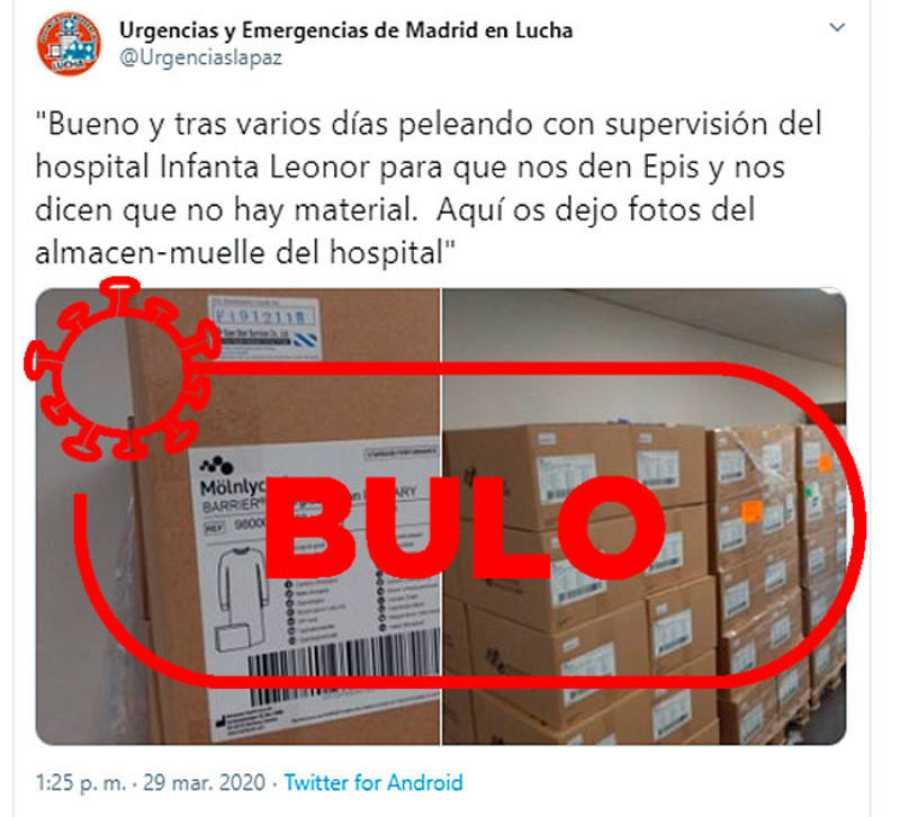 Captura del bulo sobre la retención de equipos de protección individual en el Hospital Infanta Isabel.