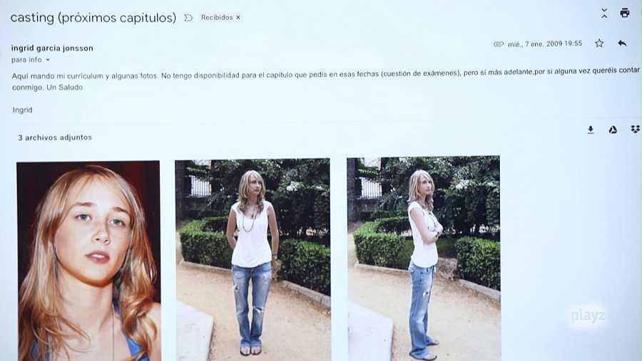 Captura del correo que le envió Ingrid García-Jonsson a la productora de David Sainz para participar en 'Malviviendo'