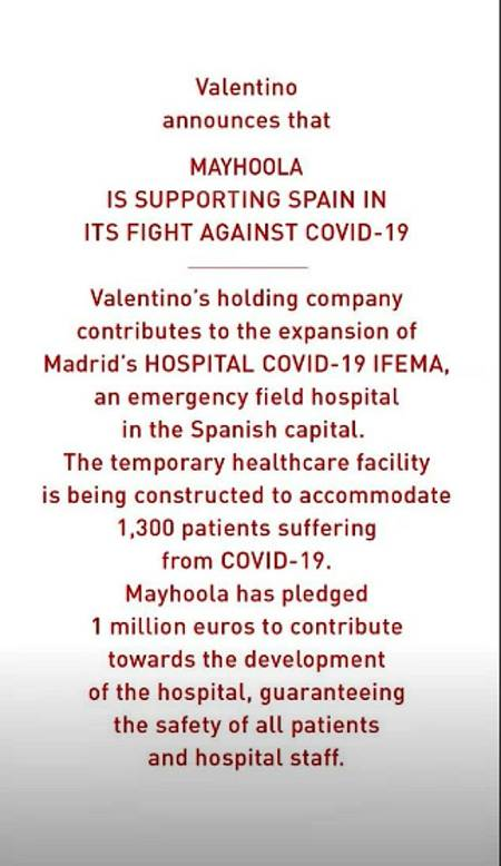 Valentino dona un millón de euros al hospital de ifema