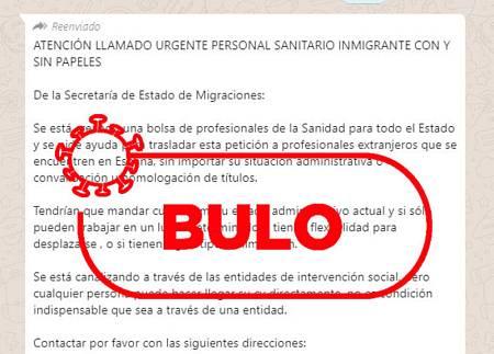 Captura del mensaje de whatsapp que está circulando sobre la falsa contratación de sanitarios en situación irregular.