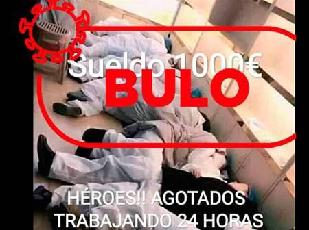 Captura de la imagen de los médicos chinos que se hace pasar por sanitarios españoles.