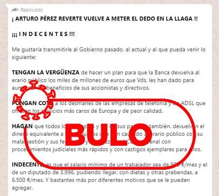 Captura del mensaje que falsamente se atribuye a Pérez Reverte.