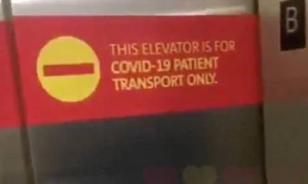 Captura del cartel del ascensor.