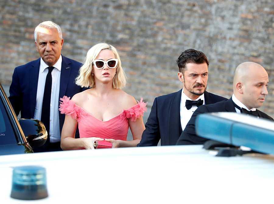 Katy Perry y Orlando Bloom en una boda en Roma