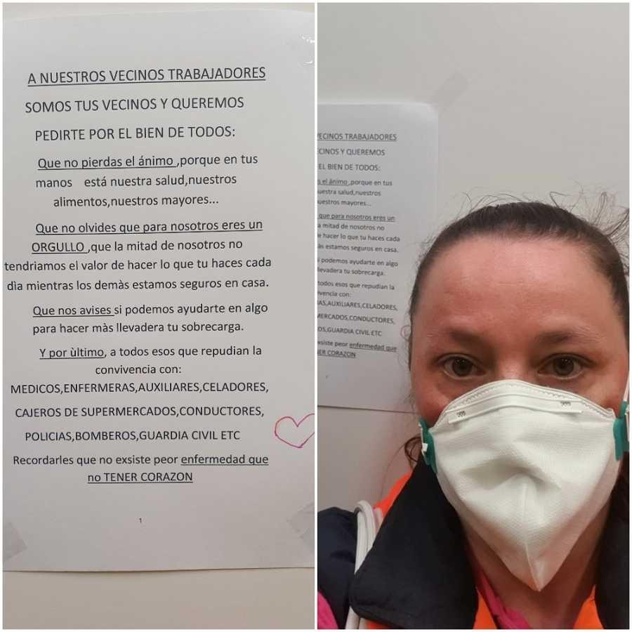 Rebeca es camionera en Valladolid. Posa ante el cartel que le han dejado sus vecinos en el portal: