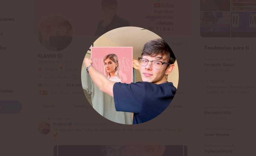 Foto del perfil de Flavio en su Twitter con la portada del single de Samantha