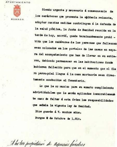 Imagen de una de las páginas publicadas en el Boletín Oficial de la provincia de Burgos en 1918 con motivo de la gripe española.