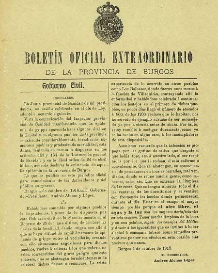 Imagen del Boletín Oficial Extraordinario de la provincia de Burgos del año 1918.